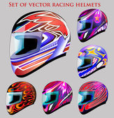 Illustration set of beautiful vector racing helmets with different color