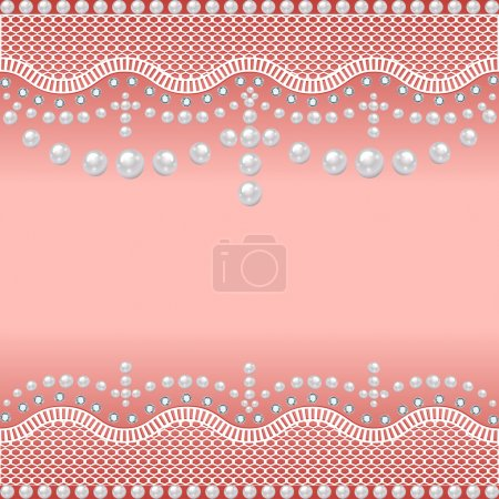 background with a grid of pearls and precious stones