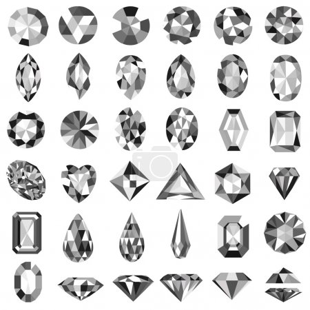 set of precious stones of different cuts and shapes