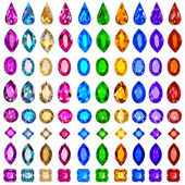 set of precious stones of different cuts and col