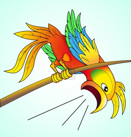Illustration for Illustration bright parrot yells about news which his its worry - Royalty Free Image