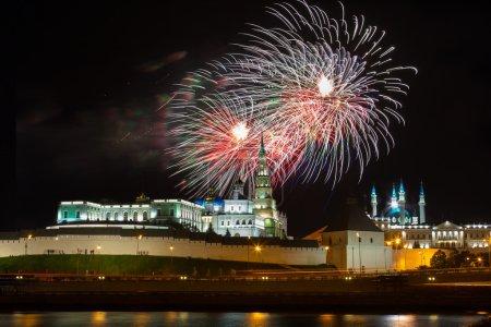 Fireworks over Kremlin in Kazan