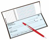 Checkbook with a ballpoint pen red Vector illustration
