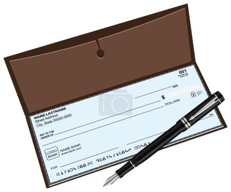 Checkbook with a fountain pen. Vector illustration...