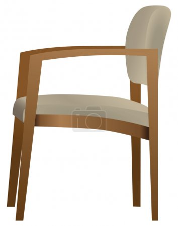 Illustration for Office chair for visitors with a wooden frame. Vector illustration. - Royalty Free Image