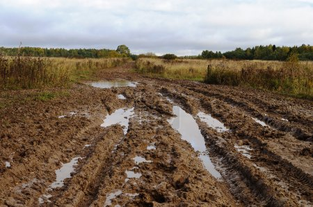 Messy rural dirt road after the rain