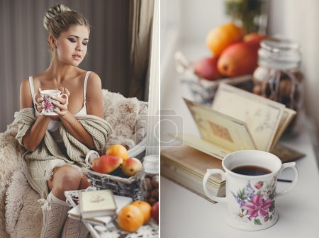 Photo pour Jeune femme à la maison assise sur une chaise moderne devant la fenêtre se détendre dans son livre de lecture salon et boire du café ou du thé. Automne. À la maison. Cozy.Soft photo confortable de la femme tasse de thé dans les mains - image libre de droit