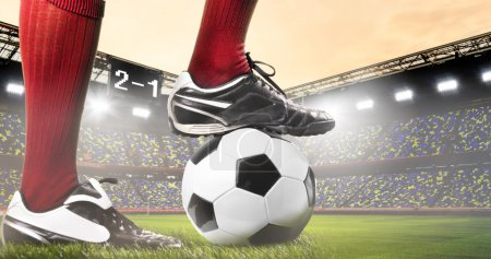 Photo for Legs of soccer or football player at stadium - Royalty Free Image