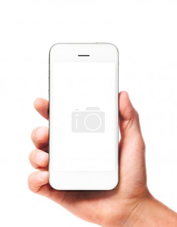 Photo for Modern smartphone with blank screen in businessman hand isolated on white background - Royalty Free Image