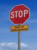 Značka stop konec diskuse