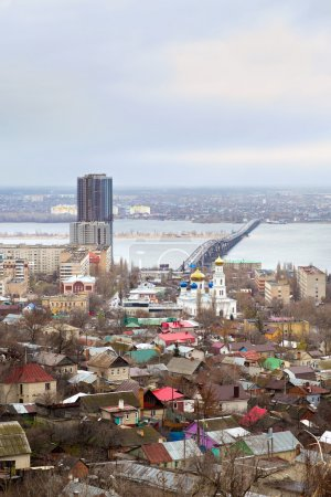 Saratov. Russia. Road bridge over river Volga