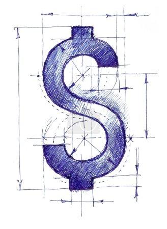 Photo pour Dessin fait à la main d'un signe dollar comme un brouillon . - image libre de droit