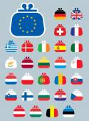 A set of vector icons of Euro flags as a purse