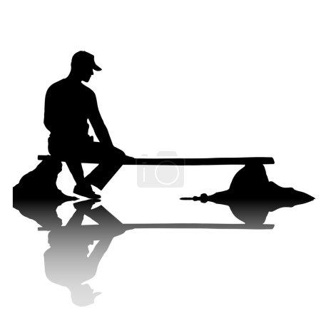 Photo pour Photo extérieure créatrice d'un jeune homme dans la silhouette s'asseyant sur le banc - image libre de droit