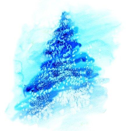 Photo pour Illustration aquarelle d'épicéa sapin de Noël dans la neige - image libre de droit