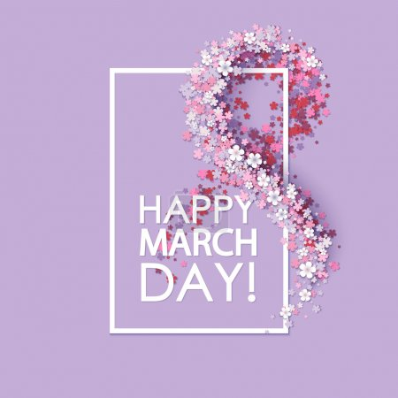 Women day background with frame flowers...