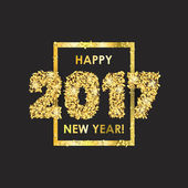 New Year 2017 celebration background Happy New Year colorful digital type on black background with gold confetti Greeting card template Vector illustration