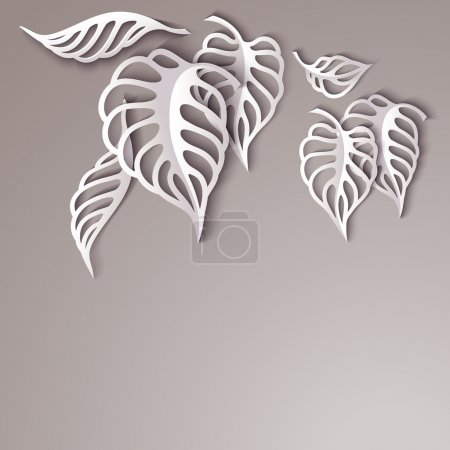 Paper design gray Leaves Background...