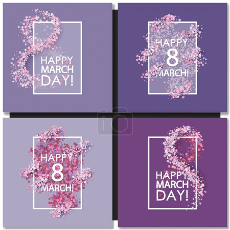 Set of Women day cards background with hearts...