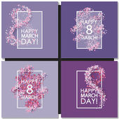 Set of Women day cards background with hearts
