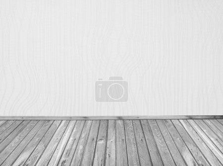 Foto de Blanco vacío interior con piso de madera - Imagen libre de derechos