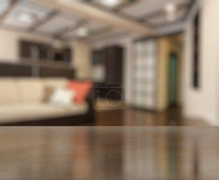 Foto de Escritorio en la sala de estar en el fondo borroso - Imagen libre de derechos