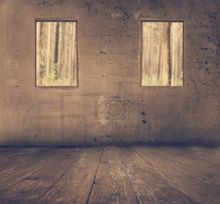 Photo for Old grunge interior with windows overlooking the forest, retro filtered, instagram style - Royalty Free Image