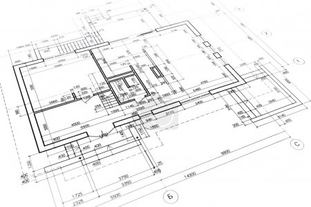 Photo for Part of architectural project, engineering and architecture drawings - Royalty Free Image