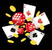 Gambling illustration with red playing dices four aces and lot of golden coins which fly away Adobe Illustrator EPS8 file