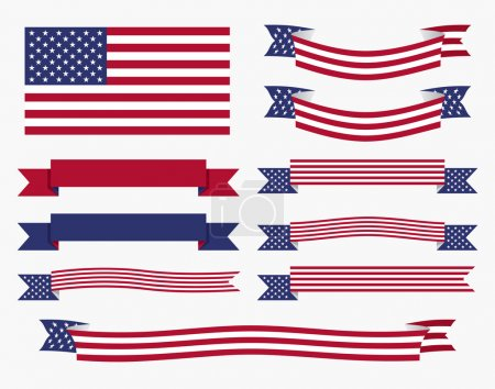 Red white blue american flag, ribbon and banner