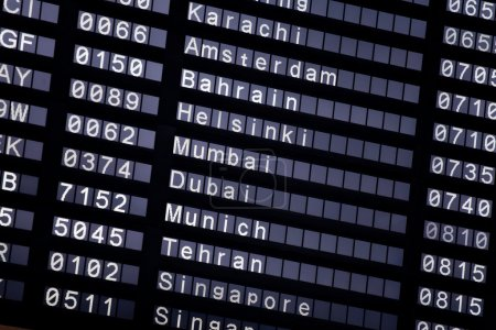 A flight schedule at the airport
