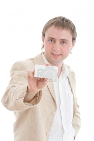 Businessman showing your card