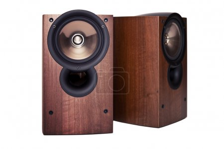 Loudspeaker in wooden cabinet, isolated
