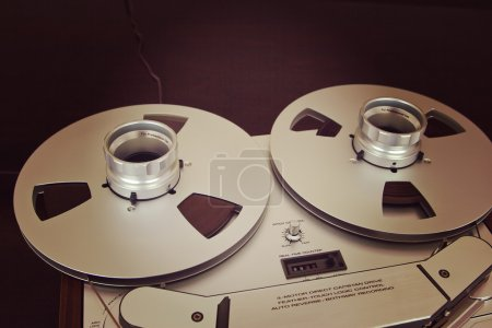 Photo for Open Metal Reels With Tape For Professional Sound Recording with NAB adapter - Royalty Free Image