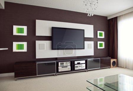 Photo pour Modern Home Theater Room Interior avec flat Screen Tv vue de perspective inclinée - image libre de droit