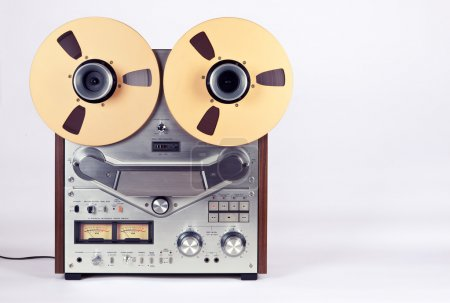 Photo for Analog Stereo Open Reel Tape Deck Recorder Player with Metal Reels Reels - Royalty Free Image