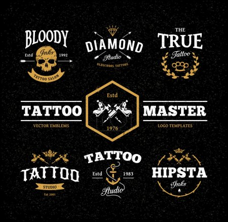 Illustration for Vector set of cool tattoo studio logo templates on dark background. Retro styled trendy vector emblems. - Royalty Free Image