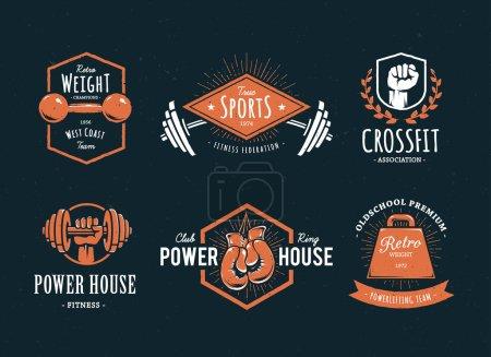 Illustration for Set of retro styled fitness emblems. Vintage gym logo templates. Vector illustrations. - Royalty Free Image