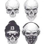 Dotwork styled skulls isolated on white. Vector ar...