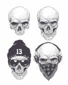 Dotwork styled skulls isolated on white Vector art