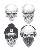 Dotwork Skulls Set
