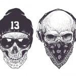 Two dotwork skulls with modern street style attrib...