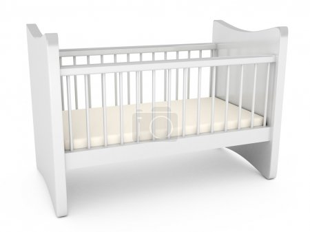 Baby cot over white background