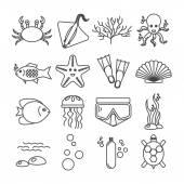 Icone di immersioni con pesci e attrezzature