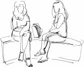 sketch of two friends sitting on bench