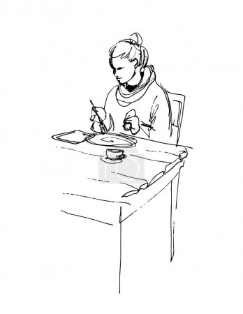woman using tablet computer and having lunch