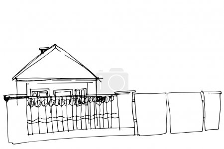 Vector sketch of a house behind an iron fence with a gate