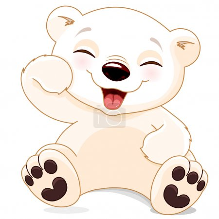 Illustration for Illustration of white cute polar bear is laughing - Royalty Free Image