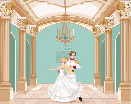 Dancing couple in ballroom
