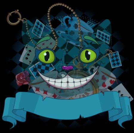 Illustration pour Conception de chat Cheshire au pays des merveilles, fond de cartes de jeu - image libre de droit